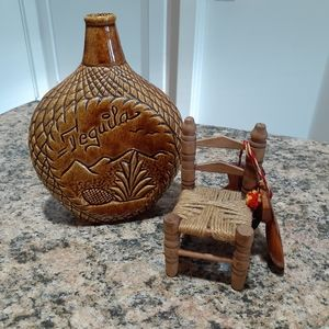 Other - Decorative tequila bottle & vintage mini chair